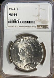 1924 Peace Dollar NGC MS64 (pSA-12)