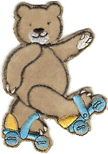 Skating Furry Teddy Bear Embroidery Patch