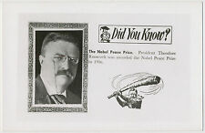 US President Theodore Roosevelt - Awarded Nobel Peace Prize in 1906 RPPC