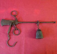 ANTIQUE 19thC FRENCH LARGE NDL FORGED IRON STEELYARD 30 kg BALANCE WEIGHT SCALE