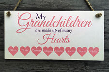 My Grandchildren Hearts Personalised Wooden Plaque - gift home vintage style