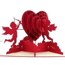 Faltbar 3D Pop-up Grußkarte Party Hochzeit Geschenk Karte Amor Liebes-Herz