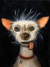 Ugly Dog Chinese Crested Chihuahua Canine Strange Original Painting Humor Funny!