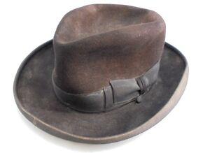 Vintage Cappelli Grandiose Brown Trilby 100% Fur Felt Fully Lined Size 59, Men's
