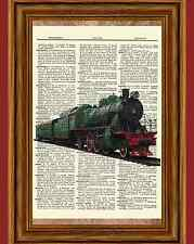 Vintage Train Dictionary Curious Art Print Poster Picture Steam Railroad Book