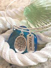 Family Tree & Family bright Silver charm Expandable Bangle Bracelet