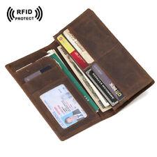 RFID Men's Leather Long Bifold Wallet Card Cash Passport Air Ticket Holder Purse