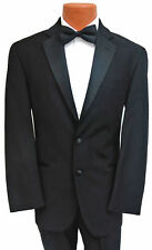 Men's Black Ralph Lauren Tuxedo Jacket with Pants Two Button Satin Notch Lapels
