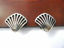 Wonderful James Avery SEASHELL Openwork CLIP Sterling Silver Earrings NICE!