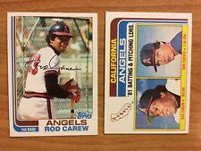 Two 1982 Rod Carew Topps Baseball Cards #500 & #276 Angels Minnesota Twins HOF