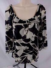 Sweet Pea Womens Medium Black Ivory Nylon Cold Shoulder Blouse CB66G