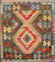 Pastel Color Kilim Square Hand-Woven Reversible Area Rug Oriental 3x3 Carpet