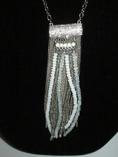 Layered Chains Long Shiny Chic Inc Rhinestone Crystal Statement Necklace Silver