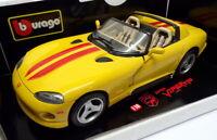 Burago 1/18 Scale Model Car 3025 - 1992 Dodge Viper RT/10 - Yellow