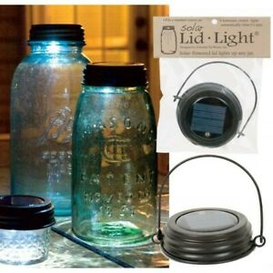 Hanging Solar Lid Light w/ Handle Fits Mason Jar Rustic Brown LED Primitive