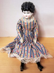 """Antique 20"""" marked Germany low brow china head in nice clean outfit VGC"""