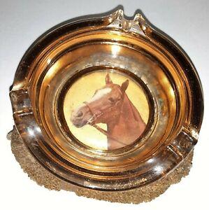 """Vintage 1950s Ashtray Glass Beaded Bottom """"HORSE HEAD"""""""