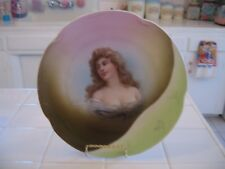 Beautiful Vintage Hand Painted J&C Louise Bavaria Portrait Plate With Lady Woman