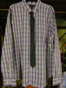 ATTENTION 2XL DRESS/CASUAL PURPLE/WHITE CHECKED DRESS SHIRT & BLACK TIE NWT