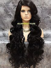Long Wavy Layered W Bangs Dark Brown Full Lace Front Wig Heat Ok Hair Piece #2