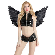 Kid Adult Black Angel Fairy Real Feather Wings Dance Party Halloween Fancy Dress