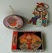 Mary Engelbreit Christmas Ornaments 2 Wood & 1 Gift Box Believe Lot of 3