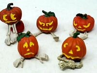 5 Halloween Pumpkins With Arms or Legs Village Accessories Scenery Figures