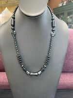 Vintage Hermatite Beautiful Chunky Heart Accent Beaded  Pendant Necklace 20""