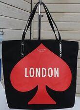 KATE SPADE BON SHOPPER LONDON POP-UP BLACK/RED/WHITE TOTE BAG  PXRG2401 NWT
