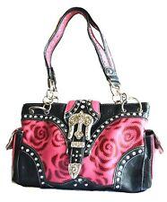 women Floral Pattern Buckle Rose Pink Top handle Shoulder Handbag Western Purse