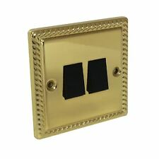 Polished Georgian Brass 2 Gang 2 Way Light Switch Royal Rope Effect Screws Inc