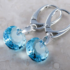 925 Sterling Silver Earrings *Classic Cut* Aquamarine Crystals from Swarovski®