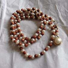 Vintage Genuine Pearl & Gold Stone Bead Necklace W/ Large Pearl at Clasp, 28 in