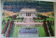 Vintage Doubl-Thik Picture Puzzle Lincoln Memorail 9 x 12in 125+ Pieces, 1940's