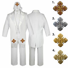 5 6 7pc White Baby Kid Boys Christening Formal Tail Tuxedo Suits Cross Hat Stole