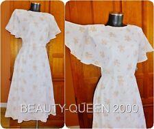 Vtg 70s Semi Sheer Batiste Lily of Valley Floral Print Butterfly Slv BoHo Dress