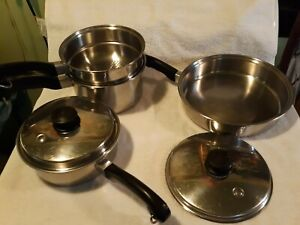 6 Pieces Vintage Saladmaster Cookware Stainless Steel 18-8 TRI CLAD