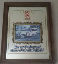 Vintage pub bar advertising mirror sign Rolls Royce automobilia 10 x 13