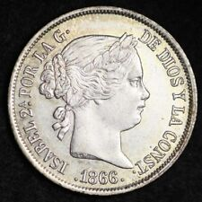 1866 40 CENTIMOS SPAIN ISABELLA CHOICE FREE SHIPPING E413 ANT