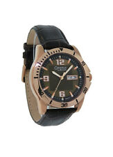 Caravelle by Bulova 44C103 Men's Analog Rose Gold Tone Day & Date Leather Watch