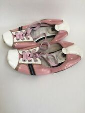DOLCE & GABBANA White Pink Casual Patent Leather Elastic Flats Size 36.5