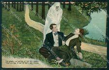 Scheletro Skeleton Fantasma Ghost Comic PIEGA cartolina postcard QT5052