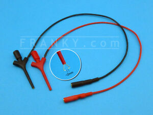 25cm Silicone Leads w/ SMD Mini Grabber Hook & 2mm Probe Tip Socket (Red+Black)