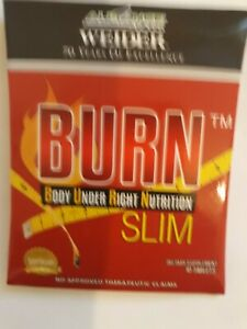 BURN BODY UNDER RIGHT NUTRITION-  WITH  SUPPLEMENTS,GINSENG & MORE - 10 TABS