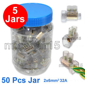 BULK 5 Jars x 50 x DOUBLE Screw Connectors in Jar - Cable Wire Joiner Terminals