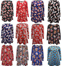 MOTHER DAUGHTER CHRISTMAS SWING DRESS LADIES XMAS GIRLS TOP MATCHING WOMENS KIDS