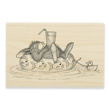 HOUSE MOUSE RUBBER STAMPS HAPPY HOPPERS INNER TUBE NAP NEW WOOD STAMP