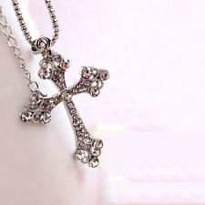 Womens Mens Retro Style Crystal Rhinestone Cross Pendant Long Chain Necklace Hot