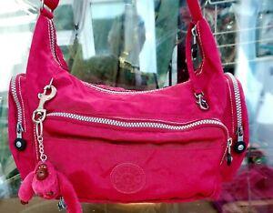 KIPLING pink nylon large cross body shoulder hand bag & monkey 🐒 Isabel