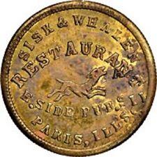 1863 Token Sisk & Whalen Paris, Il., Fuld-690E-2b, Ms62 Ngc. R8 dog on obverse